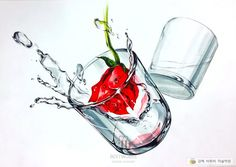 #기초디자인 #김해비투비미술학원 #유리컵 #장미 Water Drawing, Food Drawing, Importance Of Water, Still Life Art, Watercolor Sketch, Pencil Art, Colored Pencils, Design Art, Art Drawings