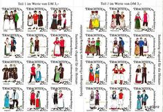 """""""Trachten aus Schleswig-Holstein"""" ist der Titel eines zweiteiligen Bogens mit je 12 Spenden-Briefmarken zu 25 Pfennig. Der Bogen trägt am Rand die Aufschrift """"Sammlung """"Jugend für die Heimat"""""""". Diese Marken wurden Anfang der Achtziger Jahre vom Schleswig-Holsteiner-Heimatbund (SHHB e.V.) aus Anlass der Gründung eines """"Arbeitskreises Trachten"""" herausgegeben und bei Auftritten zugunsten der Trachtengruppen verkauft."""
