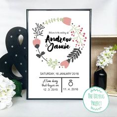 A3 Custom Printable Wedding Poster - Floral Wreath by TheLilybugProject on Etsy https://www.etsy.com/listing/261035279/a3-custom-printable-wedding-poster