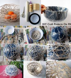 Stunning string bowl for your home diy crafty ideas*applied Home Crafts, Diy And Crafts, Diy Pochette, Paper Quilling Designs, Ideas Hogar, Diy Craft Projects, Diy Art, Christmas Diy, Decoupage