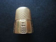 Vintage 18 k gold thimble 7 grams Panelled Asian design Aesthetic Florals sz 8