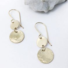 Excited to share the latest addition to my shop: Artisan hammered gold disc earrings, Double gold filled disc dangles, modern gold filled disc earrings, gifts for her, lightweight Green Earrings, Cute Earrings, Dangle Earrings, Rustic Jewelry, Handmade Jewelry, Hammered Gold, Artisan Jewelry, Gifts For Her, Jewelry Design