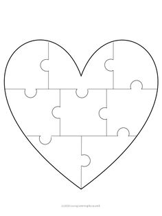 1 black and white heart puzzle template. Students draw one picture of something they love in each piece. Puzzle Crafts, Puzzle Art, Puzzle Drawing, Puzzle Piece Template, Heart Template, Valentines Day Bulletin Board, Black And White Heart, Student Drawing, Puzzle Pieces