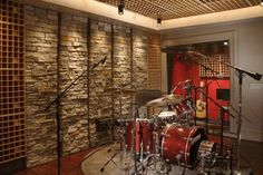 Interior Design, Home Music Studio Interior Design With Wall Natural Stone: Idea to making and designing home music studio with pictures