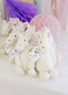 """Unicorn party favors from a Magical """"Magic is Four Real"""" Unicorn Birthday Party on Kara's Party Ideas 