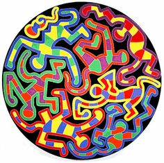 Keith Haring [American Painter, 1958-1990] Monkey Puzzle, 1988 acrylic on canvas 120 inch diameter 304.8 centimeter diameter Collection The Estate of Keith Haring