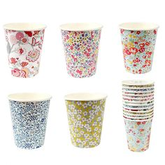 Create a colourful and stylish effect for a celebration with these Liberty party cups. Each cup is decorated with a different classic Liberty pattern. Pack contains 12 party cups. Shabby Chic Unicorn, Shabby Chic Baby Shower, Unicorn Birthday Parties, Unicorn Party, Party Cups, Tea Party, Decoration Communion, Cup Decorating, London Party