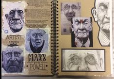 Love this Mark Powell artist research double page spread. A Level Art Sketchbook Layout, Gcse Art Sketchbook, Kunstjournal Inspiration, Sketchbook Inspiration, Sketchbook Ideas, Artist Research Page, Kunst Portfolio, Art Alevel, Kunst Inspo
