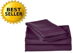 3-Piece Bed Sheet Set 1500 Thread Count Egyptian Quality Wrinkle Free HypoAllergenic with Deep Pockets , Twin, Eggplant-Purple