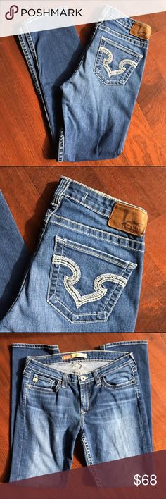 """Big Star Jeans Blue jeans with beautifully embroidered back pockets by Big Star.  Style: Nina. Type: Mid-Rise Straight. Size 31R. Waist 34"""" lying flat, stretches to 38"""". Waist to hem length 41.5"""". Inseam 32"""". Rise 9.5"""". Big Star Jeans Straight Leg"""