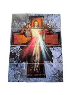Divine Mercy Jesus - religious tile mural / mosaic - now available in my Etsy Store: >>> https://www.etsy.com/listing/566852969 <<<  The mosaic is composed by 12 ceramic tiles. Suitable for indoor or outdoor use. Ready to hang. Free shipping to select countries. 100% handmade in Italy by @TerryTiles2014  #divinemercy #jesus #christianity #religious #mosaic #tilemural #tileart #catholic #catholicgifts