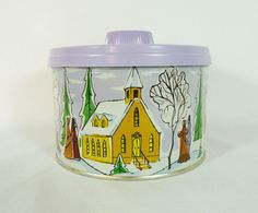 Vintage 1959 Mrs. Leland's Golden Butter Bits Christmas Tin Container