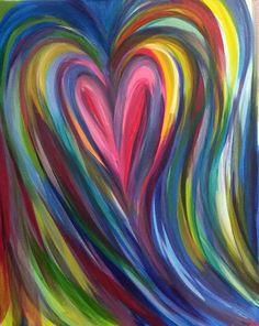 Pin by carol simpson on paintings in 2019 painting, art drawings, watercolo Heart Painting, Diy Painting, Painting & Drawing, Rainbow Painting, Painting Canvas, Diy Canvas, Heart Art, Painting Inspiration, Diy Art