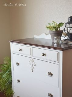 Two tone dresser. Antique Chest of Drawers gets an Update.