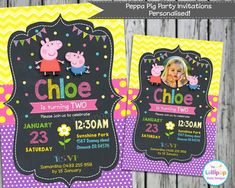 PEPPA PIG INVITATIONS PERSONALISED BIRTHDAY PARTY CUSTOM INVITES CARD CHALKBOARD #CustomInvitations #BIRTHDAYPARTIES