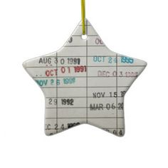 Vintage Library Due Date Cards Christmas Ornaments