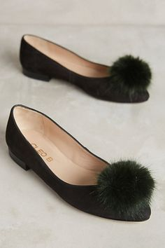 Pompom Leather Flats #anthropologie I've always wanted Tinkerbell shoes!!!!