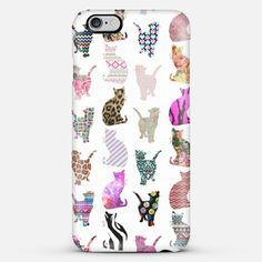 Girly Whimsical Cats Aztec Floral iPhone Case