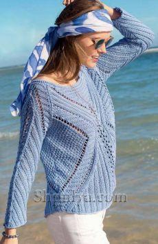 www.SHPULYA.com - Голубой пуловер со структурным узором