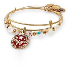 Women's Alex And Ani Wonder Woman Set Of 2 Stacking Bangles ($78) ❤ liked on Polyvore featuring jewelry, bracelets, gold, gold hinged bracelet, hinged bangles, gold bracelet bangle, charm bracelet bangle and charm bangle