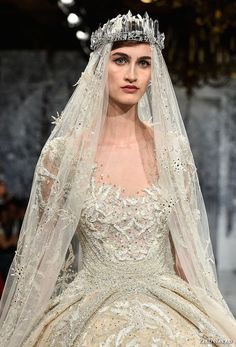ziad nakad couture fall 2017 long sleeves scoop neckline full embellishment princess glamorous ball gown a  line wedding dress sheer keyhole back royal train (29) zv  -- Ziad Nakad Couture Fall 2017 Dresses