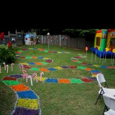 candyland board in backyard for kid's birthday
