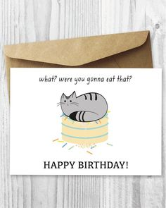 Printable Cat Birthday Card Happy Digital Funny Quirky