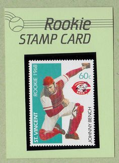 Red Bench, Johnny Bench, Cincinnati Reds Baseball, Baseball Cards, Stamp Card, Postage Stamps, Athletes, Vintage, Big