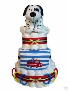 Dalmation & Fire truck baby boy diaper cake