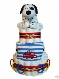 Dalmation & Fire truck baby boy diaper cake