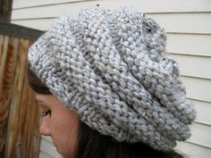 Slouchy Knit Hat, Knit Hat, Chunky Knit Hat, Slouchy Hat Beehive - Grey Marble - READY TO SHIP. $40.00, via Etsy.