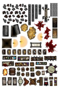 icu ~ Object Sheets - Dungeon Furniture in 2019 Dungeons And Dragons Miniatures, Dungeons And Dragons Game, Dungeons And Dragons Homebrew, Cthulhu, Dungeon Tiles, Dungeon Maps, Dungeon Furniture, Dnd Mini, Fantasy Map Making