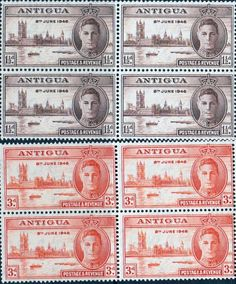 Antigua 1946 King George VI Victory Set in Blocks of 4 Fine Used  SG 110 11 Scott 96 7 Other Antigua Stamps HERE