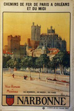 AFFICHE ANCIENNE CHEMIN DE FER PARIS ORLEANS MIDI NARBONNE AUDE DUVIVIEZ 1926 in Collections, Calendriers, tickets, affiches, Affiches pub: anciennes | eBay