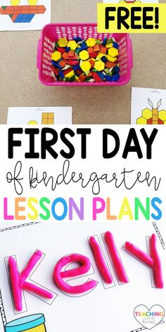 The first day of kindergarten can be stressful! It's always hard to figure out what to plan. Come read what I plan for the first day, and download my first day of kindergarten lesson plans! Beginning Of Kindergarten, Kindergarten Lesson Plans, Kindergarten Teachers, First Day Activities, Classroom Activities, Classroom Ideas, Resource Room Teacher, Teacher Blogs, Special Education Classroom