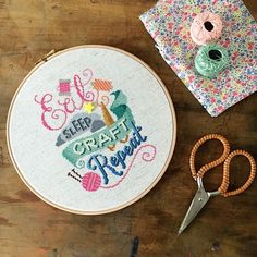 Eat Sleep Craft Repeat hoop art cross stitch pattern | Project in Mollie Makes The Big Comic Relief Crafternoon 2