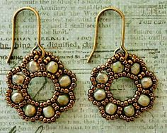 Beading Tutorial: Flora Earrings made with seed beads and fire polished beads