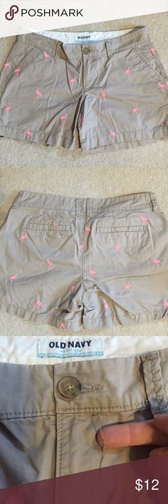 LOWERED Flamingo Shorts Only worn a handful of times!  The seam below the button has started to come off, as shown in the picture, but that does not affect the shorts. Old Navy Shorts