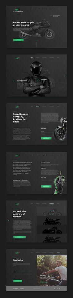SpeedLeasing - Motorcycle Leasing Web Design by Martyna Królikowska Fivestar Branding Agency – Design and Branding Agency & Curated Inspiration Gallery Layout Design, Website Design Layout, Web Layout, Web Design Websites, Web Ui Design, Media Design, Graphic Design, Gui Interface, Interface Design