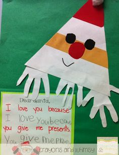 Crayons and Whimsy: Easy Triangle Santa Craft!