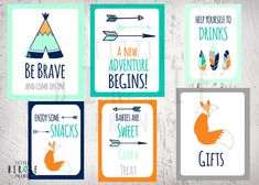 TRIBAL Baby Shower Decorations SIGNS  Teepee by littlebirdieprints