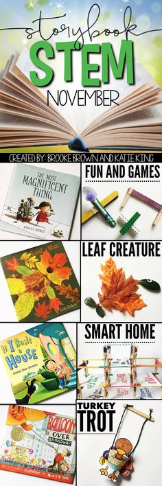 Storybook STEM {November} STEM Challenges and Language Arts lessons to match favorite fall read alouds for Kindergarten, first grade, and second grade Enrichment Activities, Steam Activities, Science Activities, Library Lessons, Art Lessons, Science Lessons, Montessori, Kindergarten Stem, Stem Science