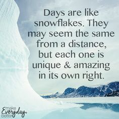 Days are like snowflakes. They may seem the same from a distance, but each one is unique & amazing in its own right.