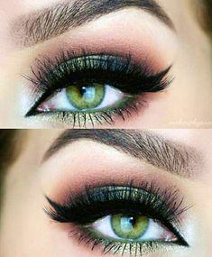 31 Pretty eye make-up for green eyes - Makeup Tips For Dark Circles Pretty Eye Makeup, Makeup Looks For Green Eyes, Red Makeup, Eye Makeup Tips, Makeup Hacks, Smokey Eye Makeup, Pretty Eyes, Gorgeous Makeup, Beauty Makeup
