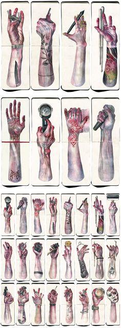 Hands Project by Katia Bezdar - Watercolor on Moleskine