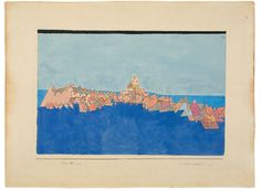 """Paul Klee Münchenbuchsee 1879 – 1940 Muralto/Locarno """"Burg auf dem Riff"""". 1927 Aquarell, teilweise mit Deckweiß, und Tuschfeder auf Bütten, vom Künstler auf Karton montiert. 30,5 × 45,8 cm (ca. 45,5 × 60 cm) (12 × 18 in. (ca. 17 ⅞ × 23 ⅝ in.))"""