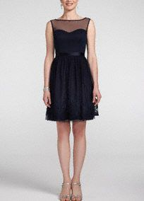 Ultra-feminine and beautifully detailed, this illusion neckline dress is absolutely lovely!  Sleeveless sweetheart bodice features chic illusion neckline.  Satin belt at waist helps create a stunning silhouette.  Intricate soutache skirt detail finishes off the look.  Fully lined. Back zip. Imported polyester. Dry clean. Not black but a light pink of course :)
