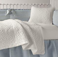 Vintage-Washed Belgian Linen Stripe & European Vintage Washed Percale Nursery Bedding Collection