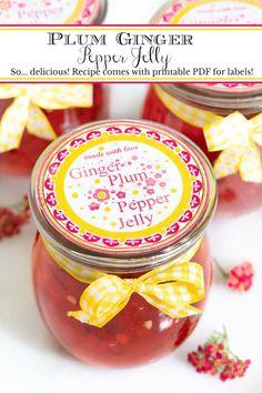Plum Ginger Pepper Jelly Jalapeno Pepper Jelly, Pepper Jelly Recipes, Stuffed Jalapeno Peppers, Apple Cider Vinegar Lemon, Apple Scones, Marmalade Recipe, Pots, Raisin Cookies, Fresh Apples