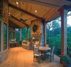 Learn about the current trends and statistics on fireplaces in new homes, and see if a house plan with an indoor or outdoor fireplace is right for you. Outdoor Rooms, Outdoor Living, Indoor Outdoor, Outdoor Balcony, Outdoor Kitchens, Balcony Deck, Outside Living, Future House, Mountain House Plans